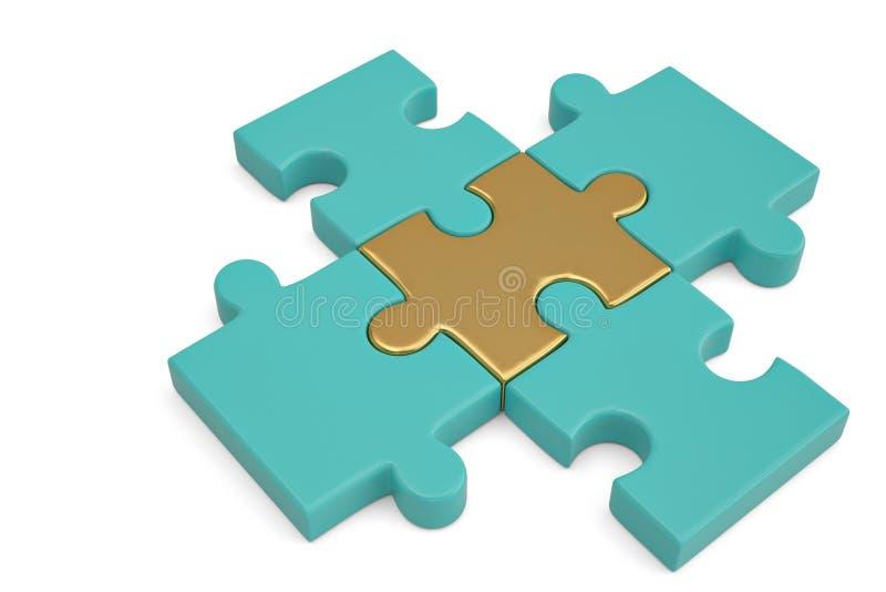 Goldenes und blaues Puzzlespiel bessert auf weißem Hintergrund aus illustratio 3D lizenzfreie abbildung