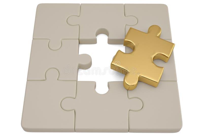 Goldenes und weißes Puzzlespiel bessert auf weißem Hintergrund aus illustrati 3d stock abbildung