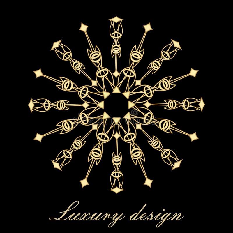 Goldenes Vektorelement für Designschablone mit Filigran geschmücktes Motiv 3d auf schwarzem Hintergrund Aufwändiger Dekor für Ein vektor abbildung