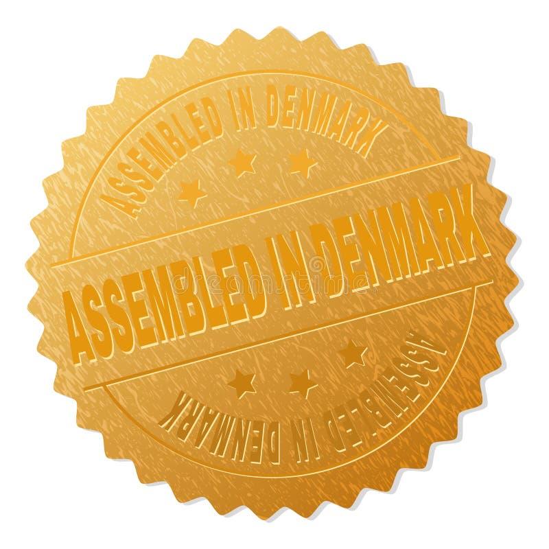 Goldenes ZUSAMMENGEBAUT im DÄNEMARK-Medaillen-Stempel vektor abbildung
