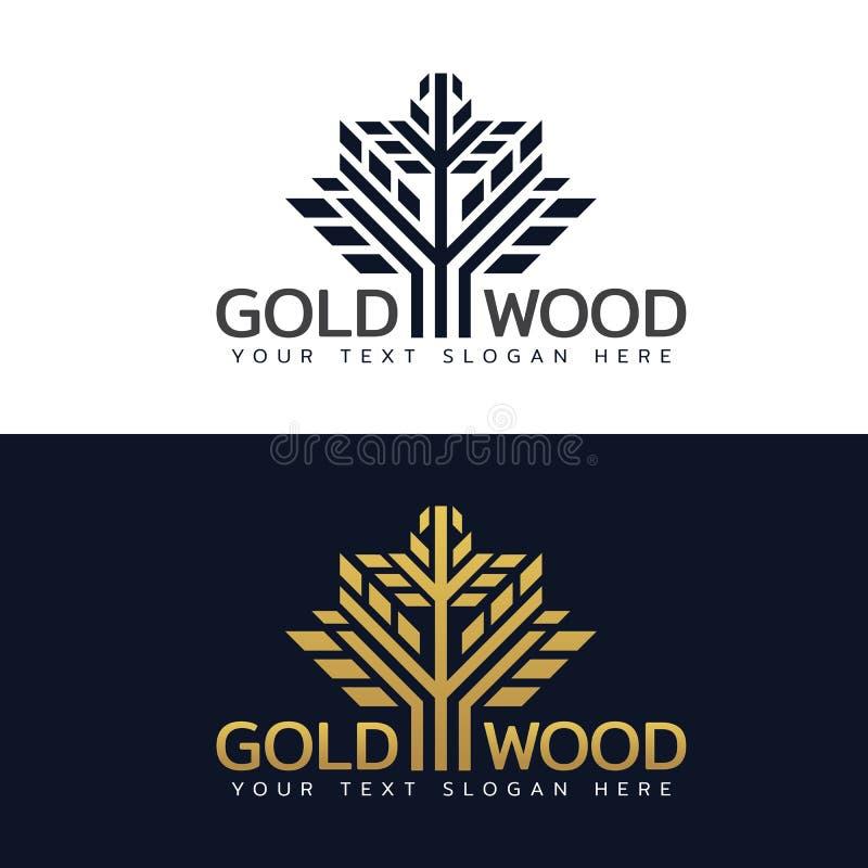 Goldentwerfen hölzernes Baumlogo mit Linien- und Formvektorkunst stock abbildung