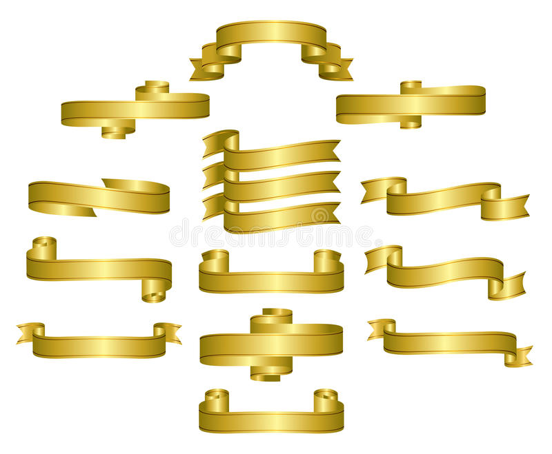 Goldfarbbänder, Rollen, Fahnen lizenzfreie abbildung