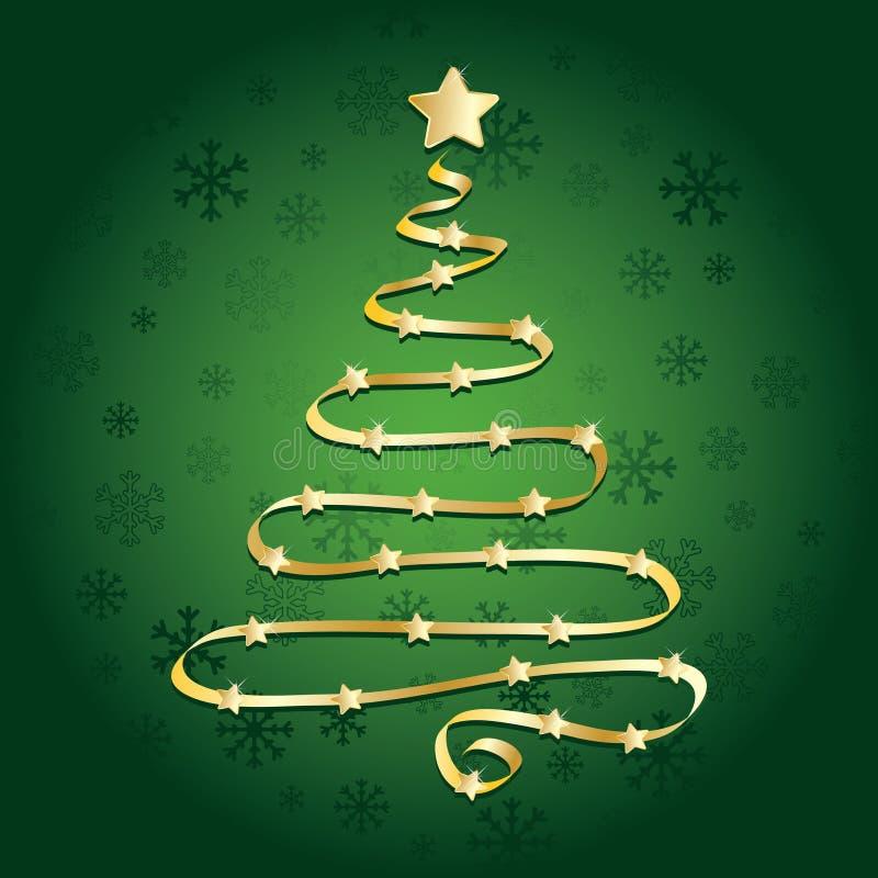 Goldfarbband-Weihnachtsbaum lizenzfreie abbildung