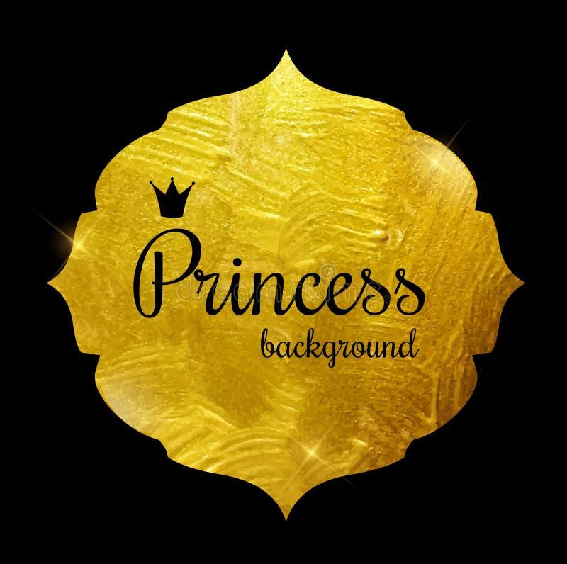 Goldfarben-funkelnde strukturierte Prinzessin Crown Frame Vector Illus vektor abbildung
