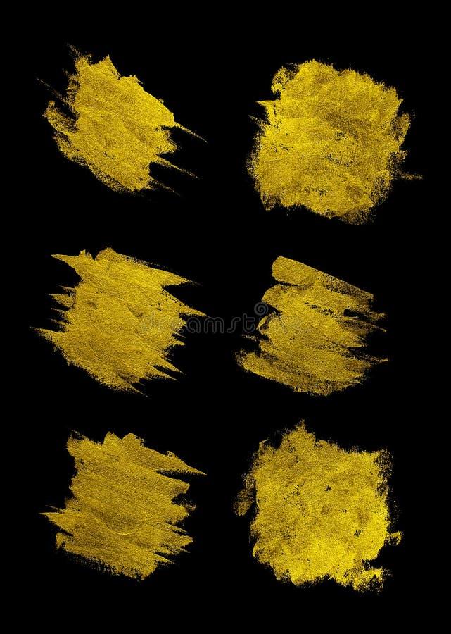 Goldfarbenabstrich-Anschlagfleck auf schwarzem Hintergrund, Goldbeschaffenheits-Farben-Fleck-Illustration Hand gezeichneter B?rst vektor abbildung