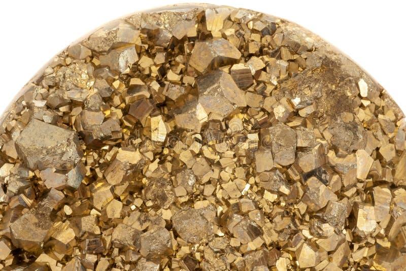 Goldfarbpyrit berechnet des Nahaufnahmefotos stockfotografie