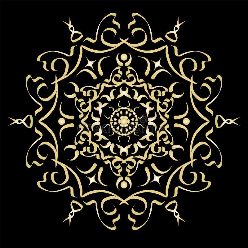 Goldfarbsteigungsverzierungs-Elementillustration stock abbildung