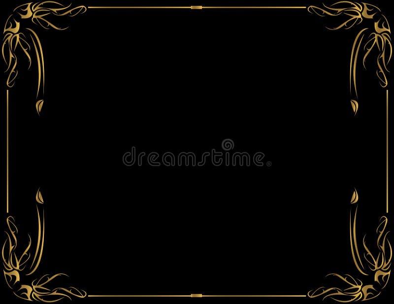 Goldfeld auf schwarzem Hintergrund stock abbildung