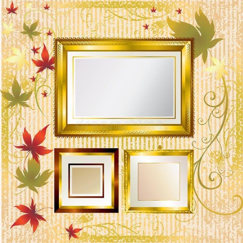 Goldfelder mit Herbst-Blättern. Danksagung vektor abbildung