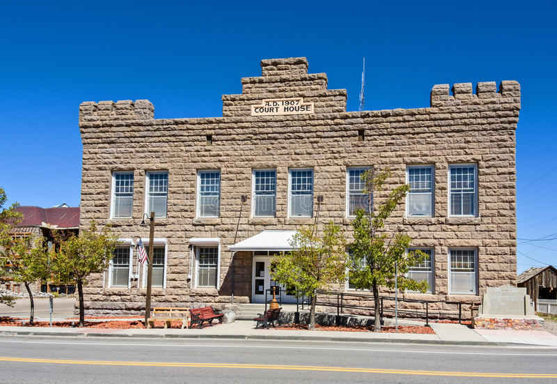 Goldfield,内华达 有历史的法院大楼 库存照片