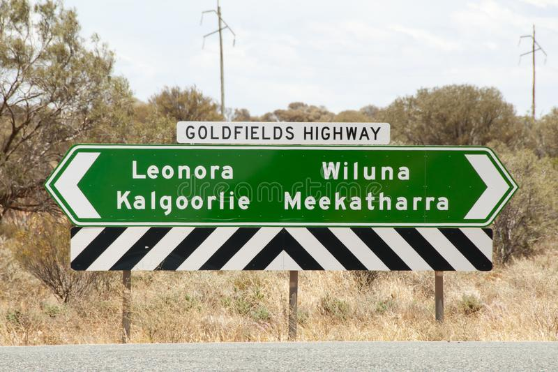 Goldfields autostrady znak obrazy royalty free