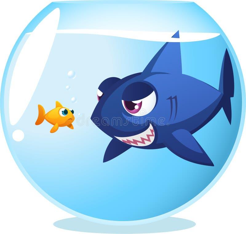 Goldfisch mit gefährlichem Haifisch vektor abbildung