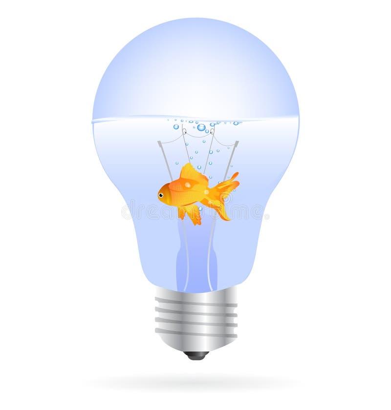 Goldfische in einem Glühlampevektor vektor abbildung
