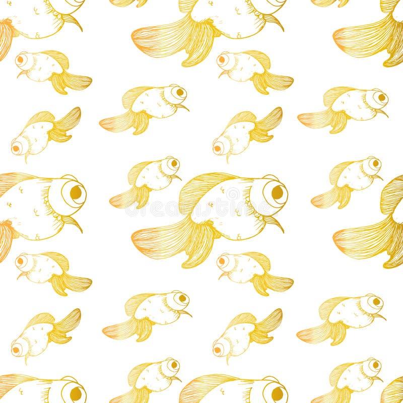 Goldfischmuster-Goldlinien verschiedene Größen lizenzfreie abbildung