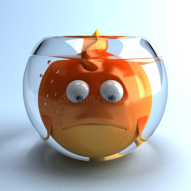 goldfish λυπημένος διανυσματική απεικόνιση
