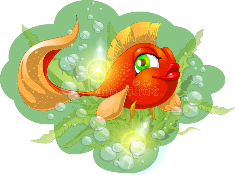 Goldfish. Against water and bubbles vector illustration