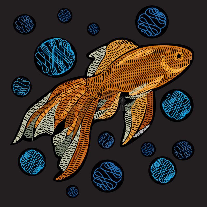 Goldfish avec des bulles Broderie avec les poissons d'or sur un Ba noir illustration libre de droits