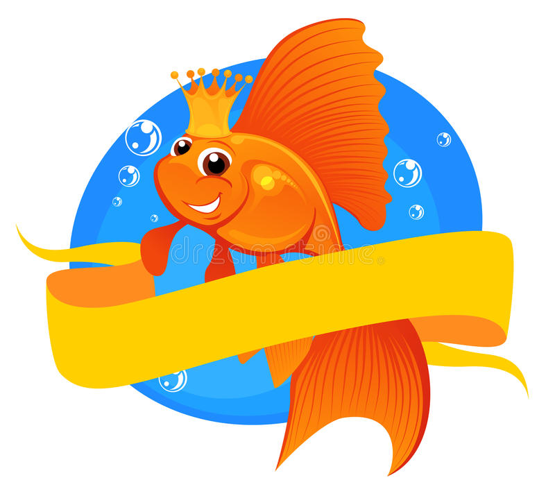 Goldfish And Banner Royalty Free Stock Photo