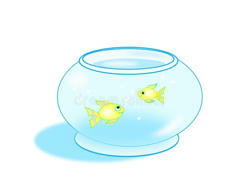 Goldfish Bowl. Two goldfishes that swim around in a goldfish bowl stock illustration