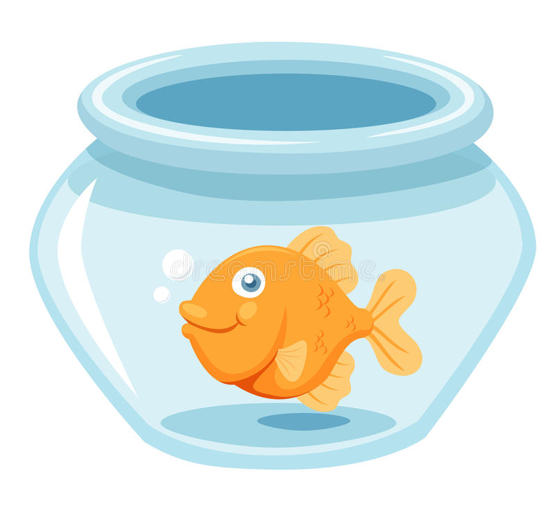 Goldfish in a bowl. Illustration of Goldfish in a bowl.Vector stock illustration