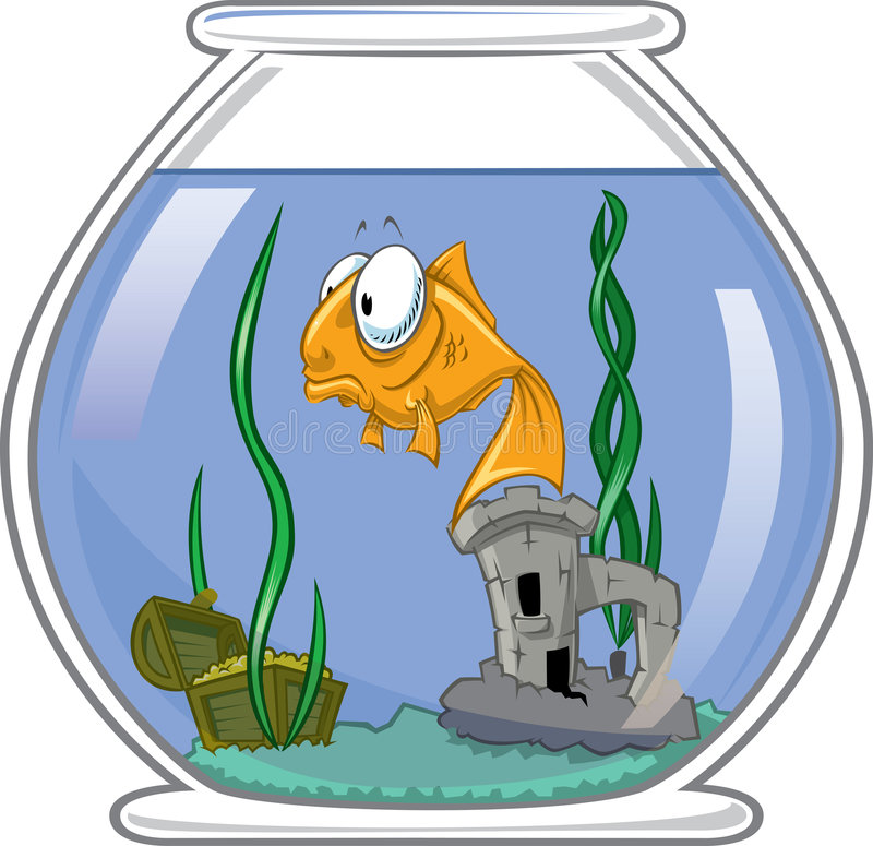 Goldfish in bowl. A lonely goldfish floating in the emptiness vector illustration