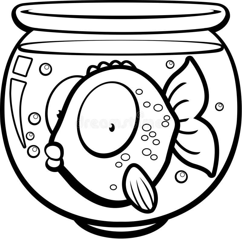 Goldfish Bowl. A cartoon goldfish in a glass bowl royalty free illustration