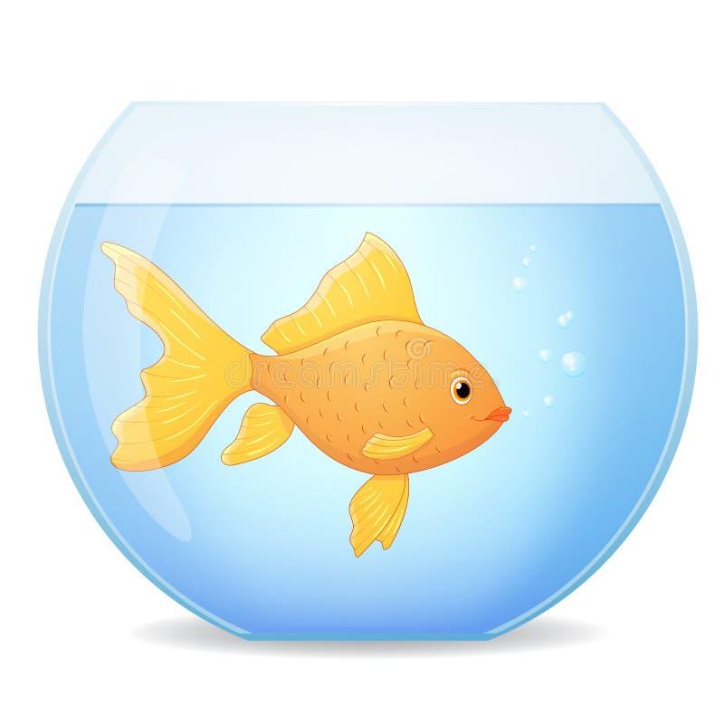 Goldfish in bowl. Cartoon vector royalty free illustration
