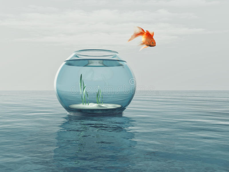 Goldfish in a bowl. Jumping in the sea. This is a 3d render illustration stock illustration