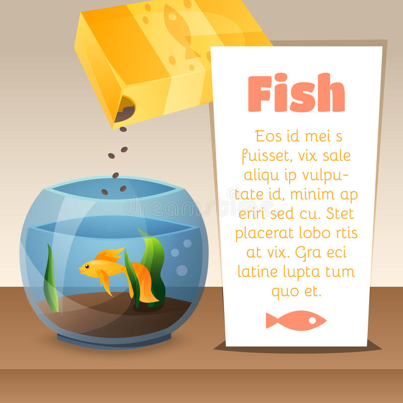 Goldfish in a bowl. With text and food.V ector illustration stock illustration