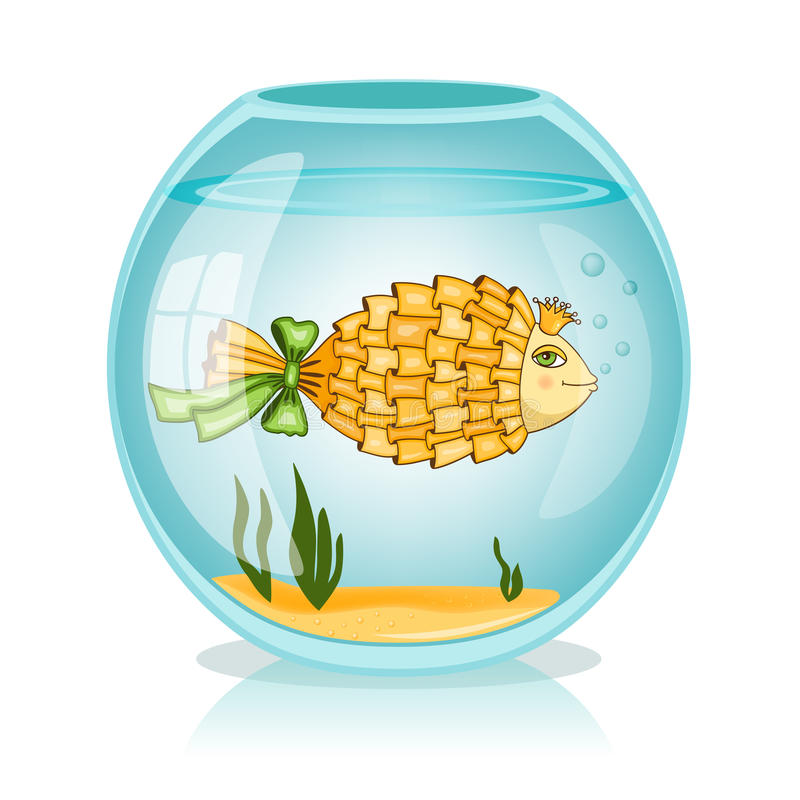 Goldfish in the bowl. Vector illustration stock illustration