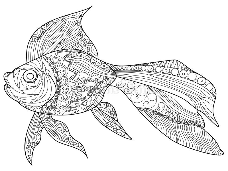 Download Goldfish Coloring Book Vector For Adults Stock