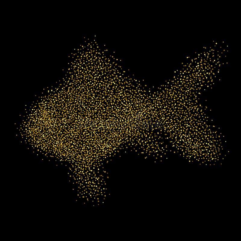 Goldfish d'isolement Poisson rouge de scintillement d'or Fond de la poussière d'or illustration stock