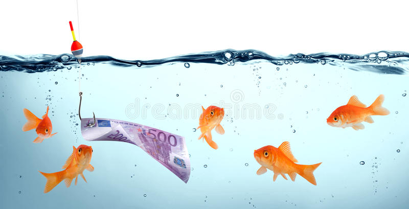 Goldfish in danger - concept deception stock image