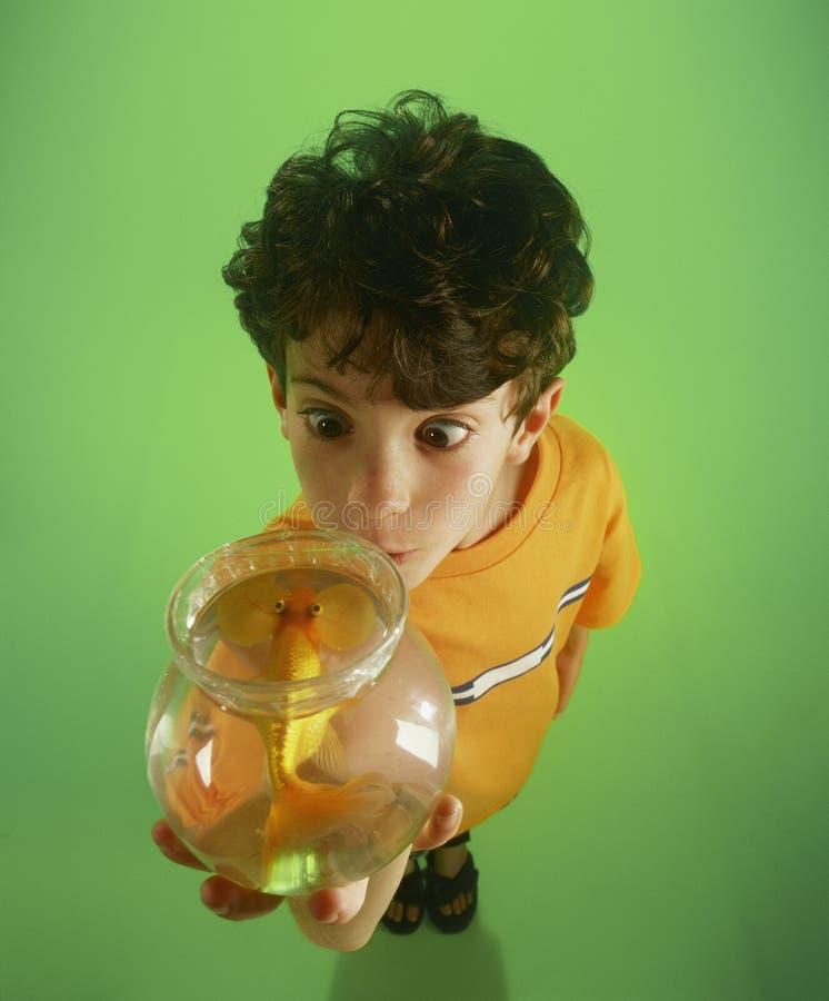 Goldfish della holding di S-1211-Boy fotografia stock