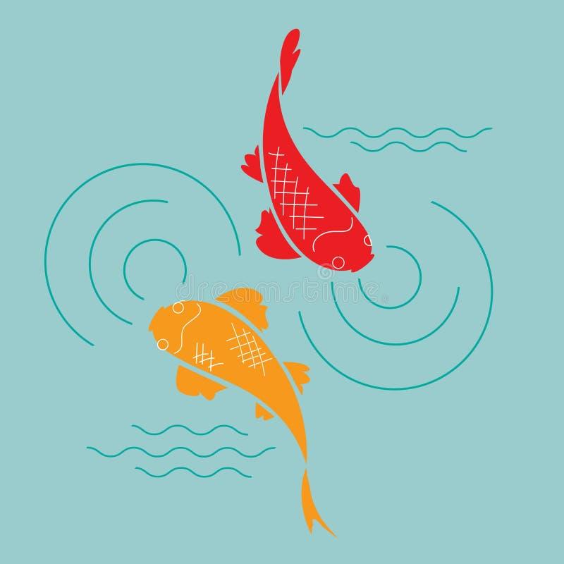 Goldfish en la charca stock de ilustración