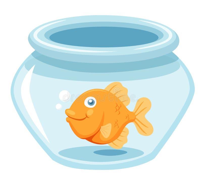 Goldfish en un tazón de fuente stock de ilustración