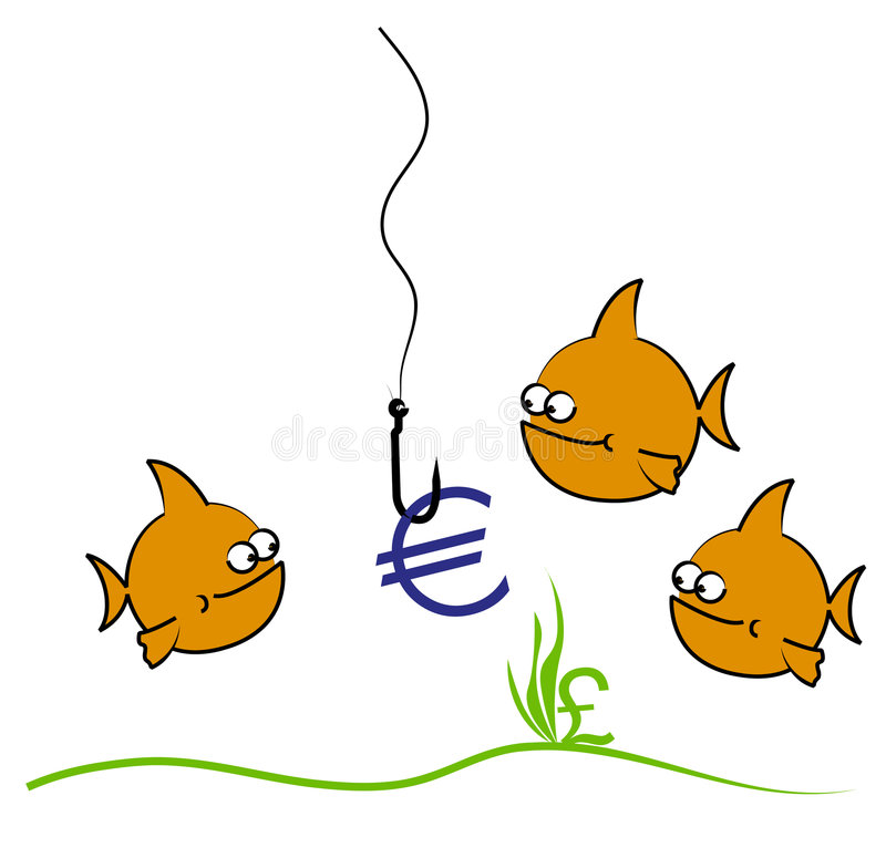 Goldfish euro cartoon royalty free illustration