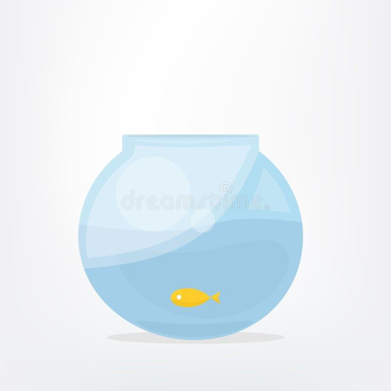Goldfish in fish bowl. Cartoon vector illustration stock illustration