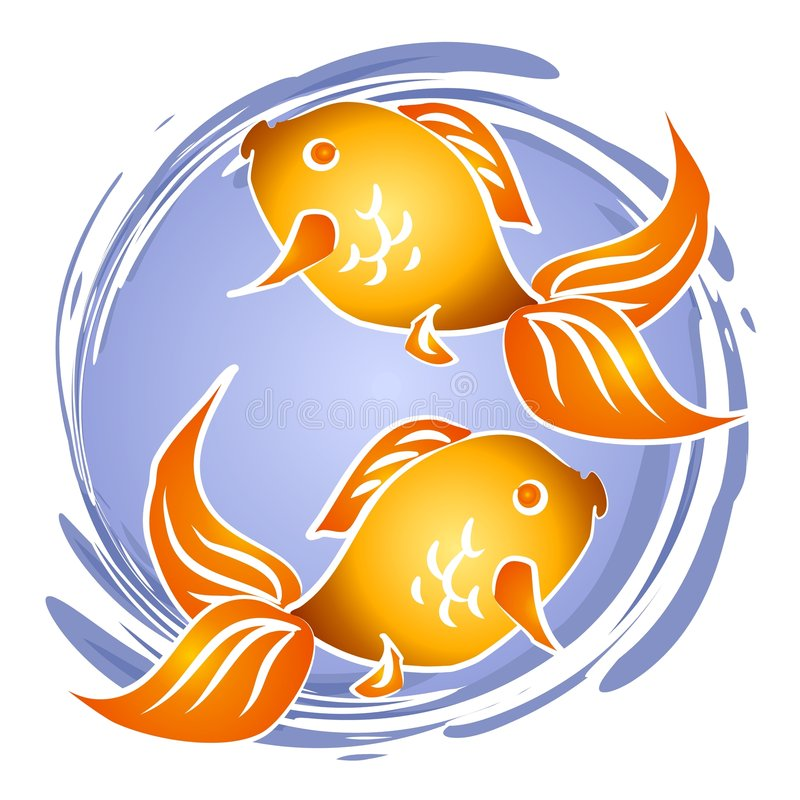 Goldfish Fish Bowl Clip Art. 2 abstract goldfish in a circle of water - could be in a pond, an aquarium, or a fish bowl royalty free illustration