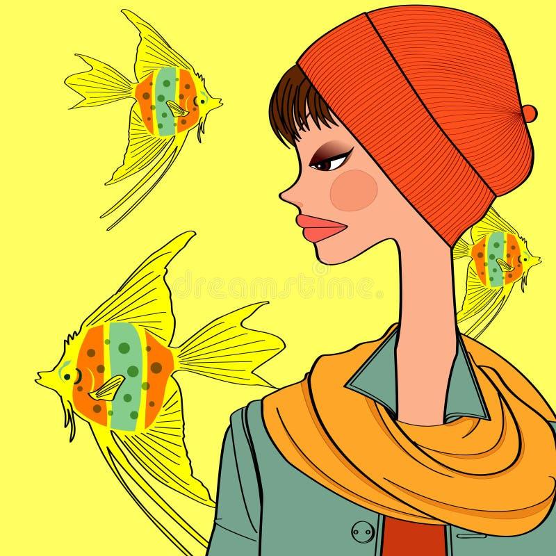 Goldfish and girl royalty free illustration