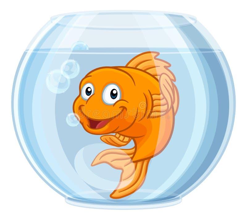 Goldfish in Gold Fish Bowl Cute Cartoon Character. A goldfish in a gold fish bowl happy cute cartoon character vector illustration