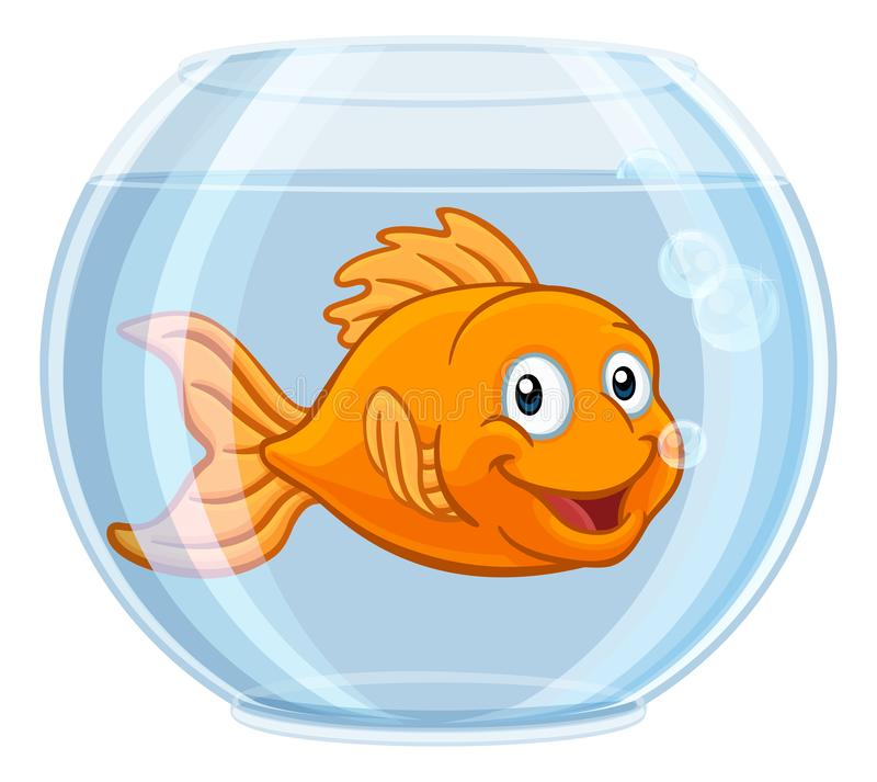 Goldfish in Gold Fish Bowl Cute Cartoon Character stock illustration