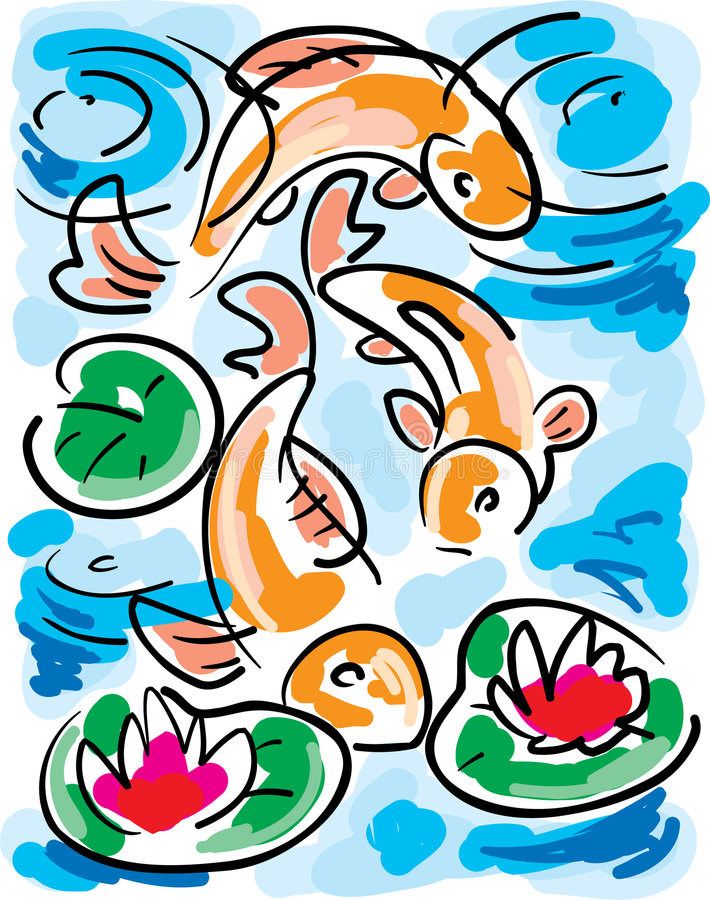 Goldfish im Teich stock abbildung