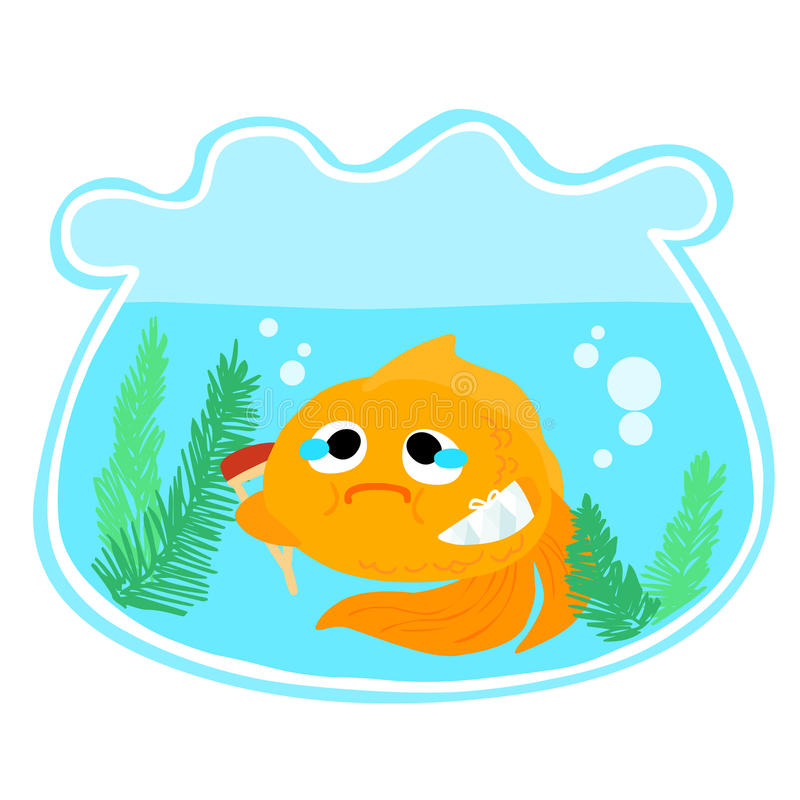 Goldfish injury in the bowl illustration royalty free illustration