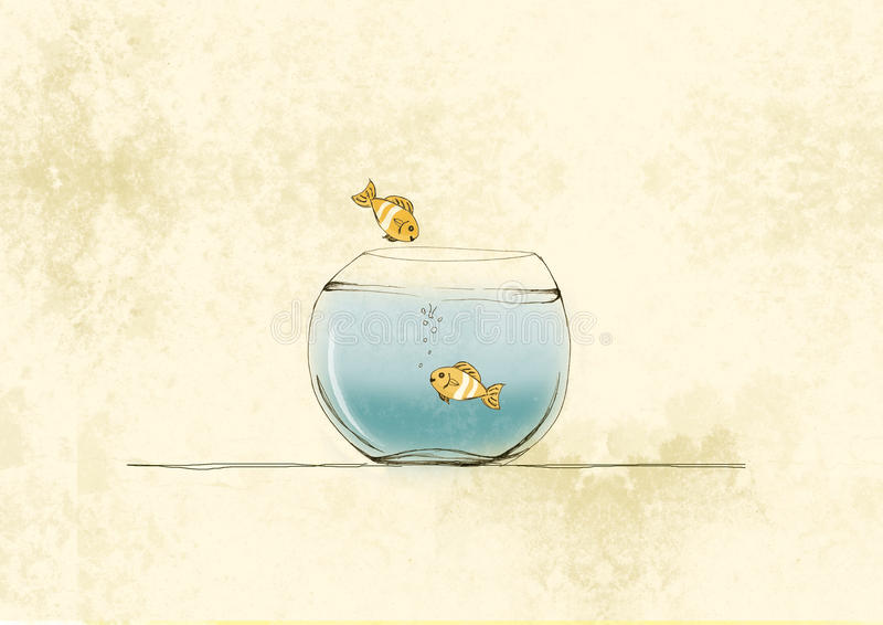 Goldfish jump into a glass bowl illustration, hand drawing soft colors. Two goldfish in abowl, one jump into a bowl to swim with his friend vector illustration