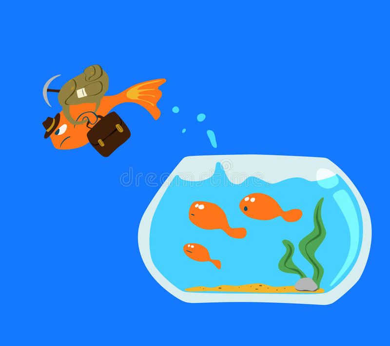 Goldfish Jump out. Of the fish bowl isolated on blue screen stock illustration