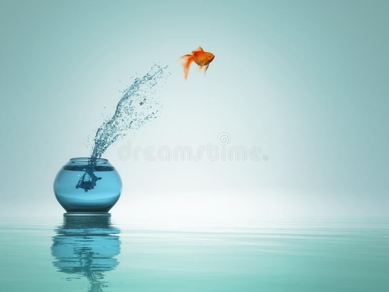 Goldfish jump to the sea. Goldfish jump from bowl to the sea. This is a 3d render stock illustration