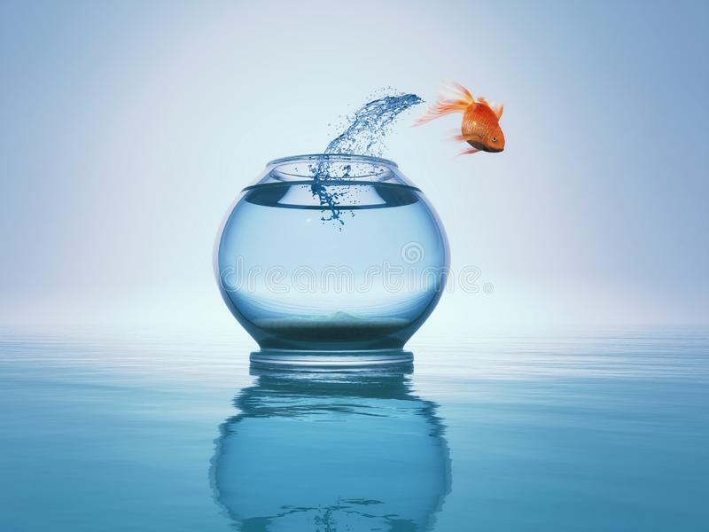 Goldfish jump to the sea. Goldfish jump from bowl to the sea. This is a 3d render vector illustration