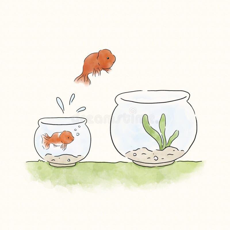 Goldfish jumping into a bigger bowl vector illustration