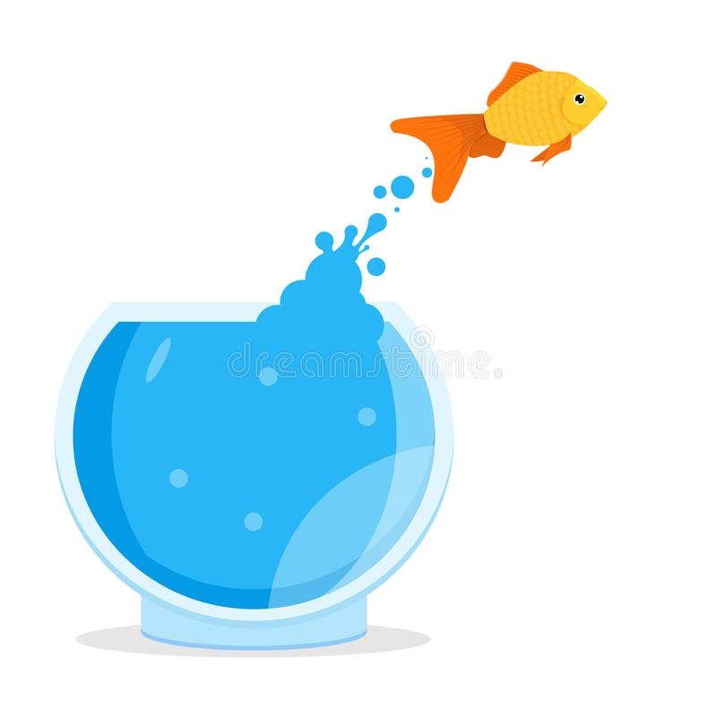 Goldfish jumping out of bowl, aquarium. Vector illustration stock illustration